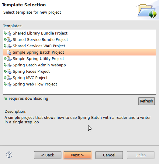 Spring Tool Suite: New Spring Batch Template Project